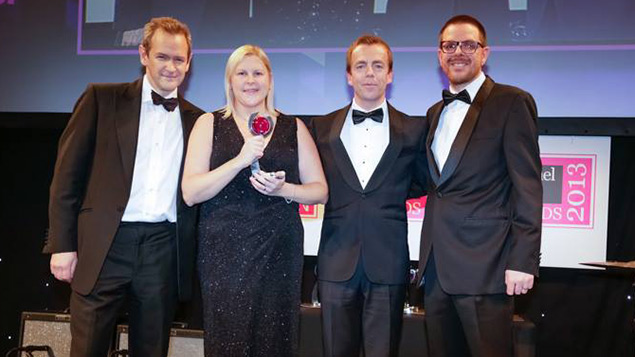 Nicola Burrows collects the HR Professional of the Year trophy