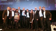 Thales collect their 2013 award from Lord Sawyer