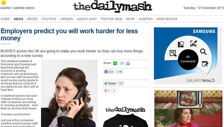 Daily Mash: Employers predict you will work harder for less money