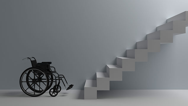 Wheelchair at bottom of stairs