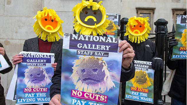 Staff protest outside the National Gallery in January 2014. REX/Mark Thomas