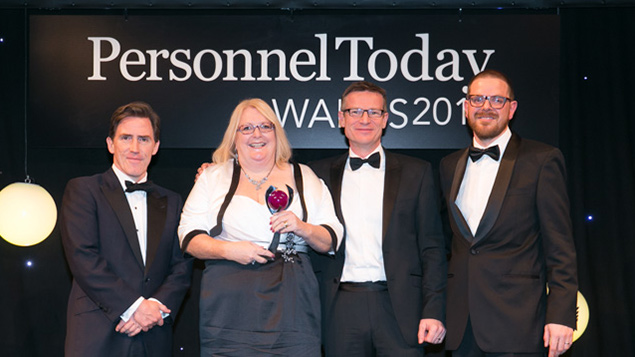 Volkswagen Group's Fiona Roberts receives last year's award from Monster MD Andy Sumner