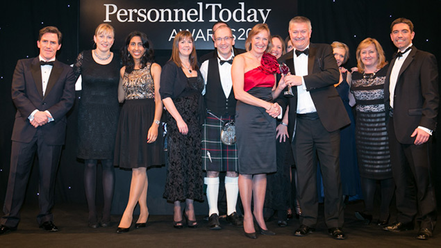 Hymans Robertson collect their employee engagement prize at the Personnel Today Awards 2014.