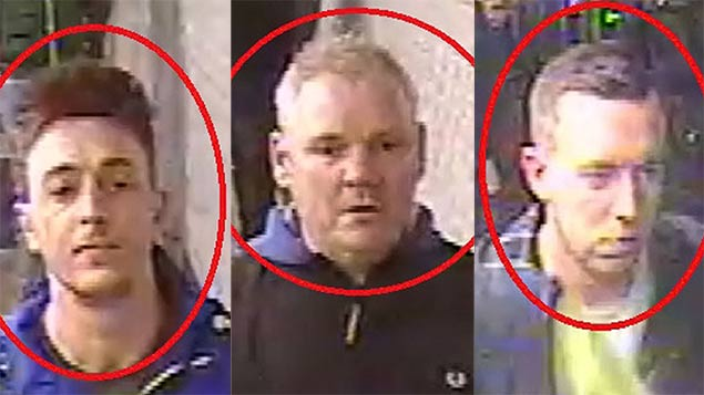 Scotland Yard released photos of three men for alleged involvement in racist abuse on the Paris Metro. Photo: REX