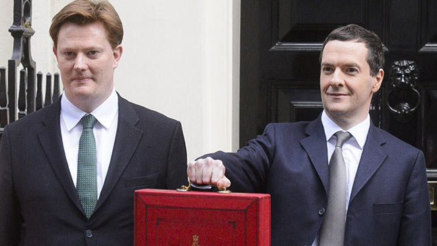 Danny Alexander and George Osborne ahead of today's Budget. Photo: Jonathan Hordle/REX