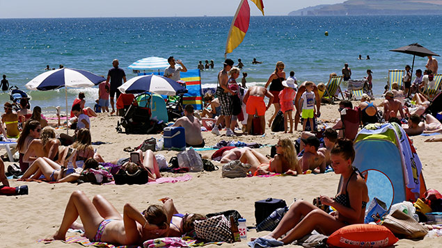 Holidaymakers in Bournemouth this week. Photo: Geoffrey Swaine/REX