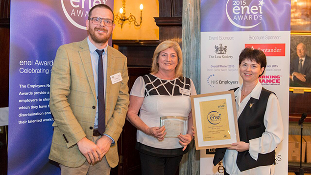 The team at the Crown Office and Procurator Fiscal Service collect their award from Personnel Today editor Rob Moss.