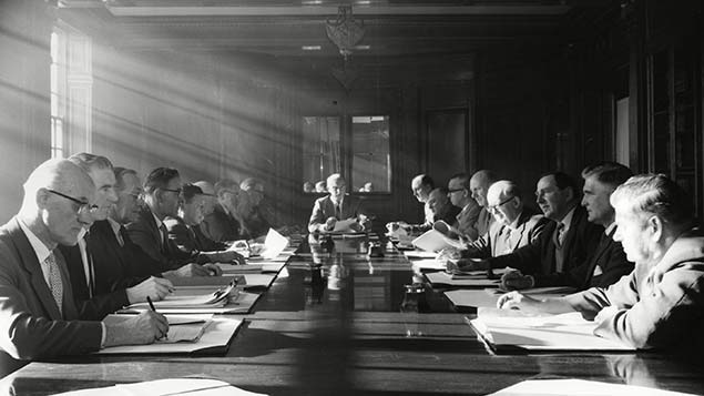 Male, pale and stale: UK boardrooms are still stuck in the 1960s Photo: Rex