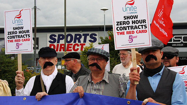 Unite members protest against zero hours contracts at Sports Direct. Photo: Matthew Taylor/REX Shutterstock