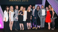 HR Team of the Year - Penguin Random House - collect their trophy