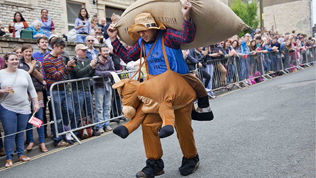 The Tetbury woolsack race, held every year on the spring bank holiday Monday. REX/Shutterstock