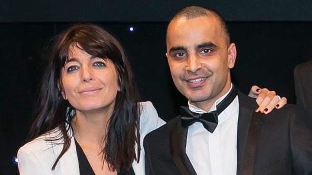 Kessar Kalim on stage with Claudia Winkleman
