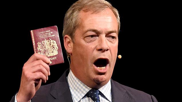 Nigel Farage campaigning for Brexit last week. Photo: Geoff Moore/REX/Shutterstock