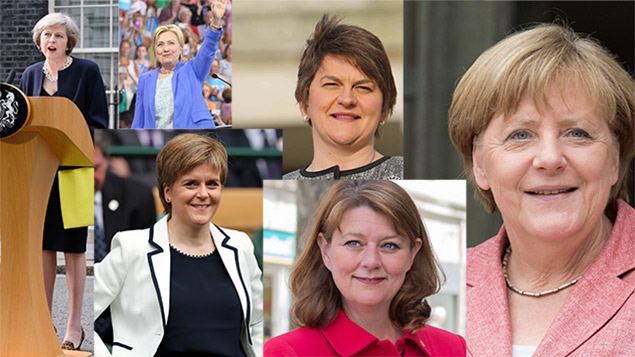 Clockwise from left: Theresa May, Hillary Clinton, Arlene Foster, Angela Merkel, Leanne Wood and Nicola Sturgeon. Photos: Jonathan Hordle/Bryce Vickmark/ZUMA Wire/BPI/NIVIERE/SIPA/Tracey Paddison/REX/Shutterstock
