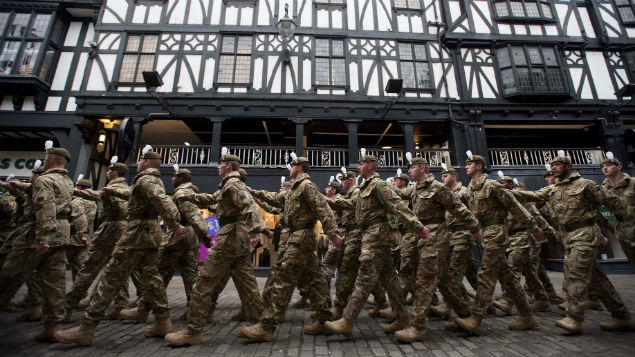 British army soldiers on a homecoming parade. PHOTO: Andrew Price/REX/Shutterstock