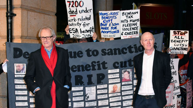 Ken Loach and Paul Laverty at the launch of Daniel Blake, a film highlighting the work capability issues and welfare cuts.Nils Jorgensen/REX/Shutterstock