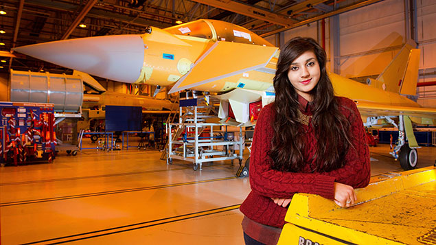 A young apprentice at BAE Systems' Typhoon production facility in PrestonPaul Cooper/REX/Shutterstock