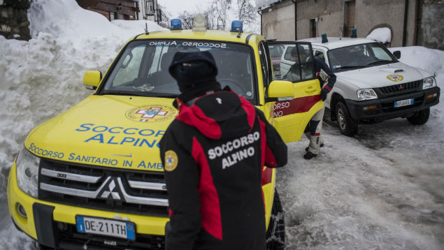 Employers should have a compassionate continuity plan to support staff after disasters like the avalanche in Abruzzo, Italy, in January. Alessandro Serano/REX/Shutterstock