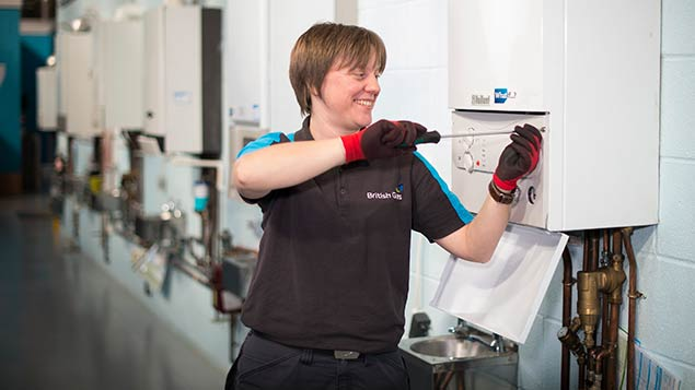 Claire Berrett, British Gas apprentice, qualified as an engineer, after previously working in retail