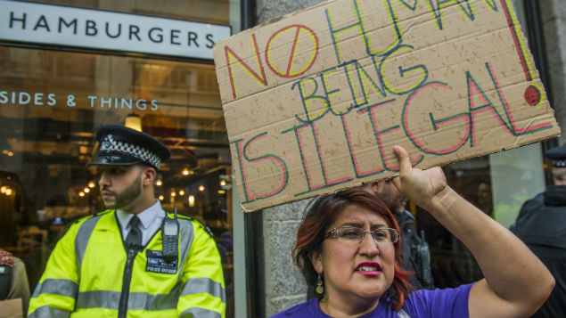 A backlash in August against an illegal working sting at the Byron Burger restaurant in London. Controversy about migrant labour affects the health of workers. Guy Bell/REX/Shutterstock