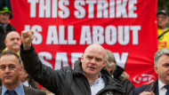 Steve Hedley, senior assistant general secretary of the RMT union at a protest in November 2016 against Southern Rail's plans to scrap guards on trains. Will new laws prevent strikes like this? Rob Pinney/LNP/REX/Shutterstock