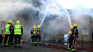 Firefighters at a warehouse fire in Seven Sisters, north London in January . Research could explain why cardiovascular events – such as heart attacks – are the leading cause of death amongst on-duty firefighters. REX/Shutterstock