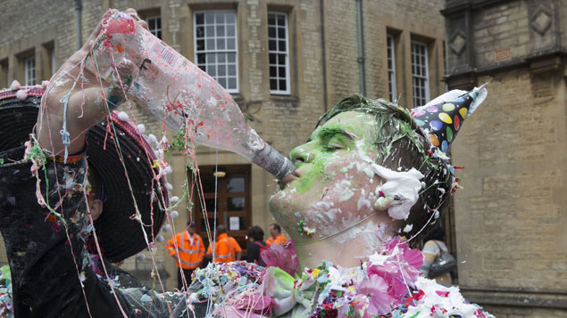 A reveller at Oxford University. Employers still canvas Oxbridge universities for candidates more than any other institutionsREX/Shutterstock