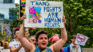 A protest in New York in July about a US government decision to ban transgender people from serving in the US military is an example of efforts to raise awareness of the rights of transgender people in the workplace. Erik McGregor/SIPA/PA Images