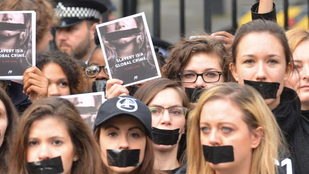 Protesters against human trafficking and modern slavery in LondonMatthew Chattle/REX/Shutterstock