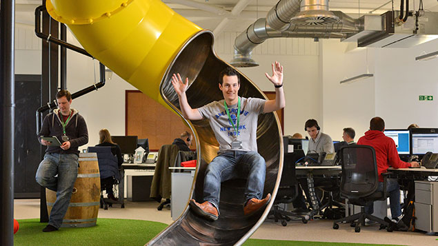 Peer 1 in Southampton boasts a slide and even a pub, but does that automatically mean employees are happier?Solent News/REX/Shutterstock