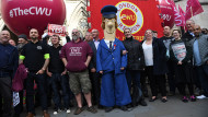 CWU members protest outside the High Court yesterday Stefan Rousseau/PA Wire/PA Images