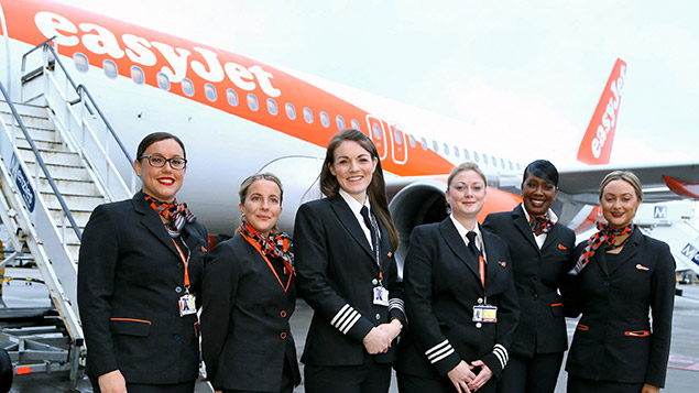 Captain Kate McWilliams (third from left) with her crew before an EasyJet flight operated entirely by womenGareth Fuller/PA Archive/PA Images