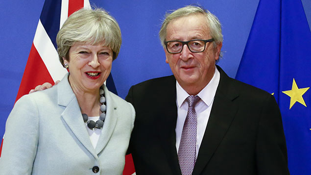 Theresa May and EU Commission president  Jean-Claude Juncker after reaching agreement this morningOlivier Hoslet/EPA-EFE/REX/Shutterstock