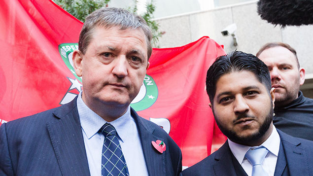 Former Uber drivers James Farrar and Yaseen Aslam arrive at the Employment Appeal Tribunal last monthVickie Flores/LNP/REX/Shutterstock