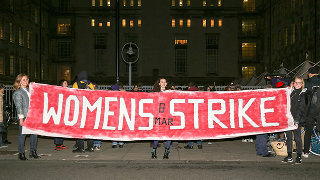 women protest over pay
