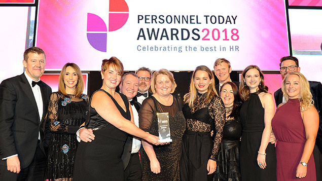 The Virgin Money team receives its Diversity and Inclusion (Private Sector) Award at the 2018 Personnel Today Awards ceremony