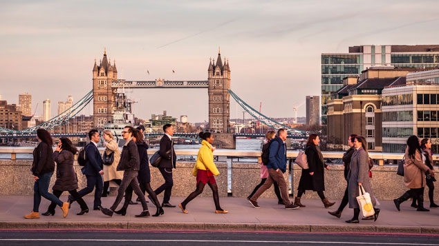 Tower Bridge. Commuters on London Bridge