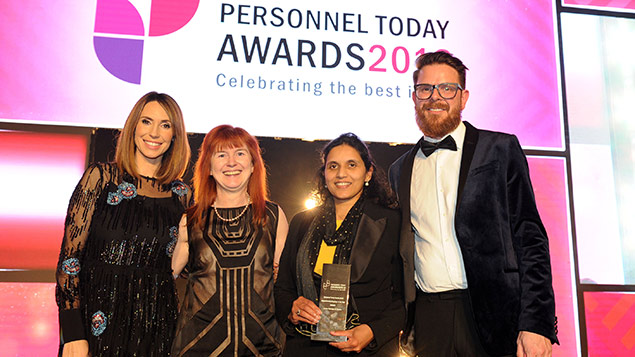 Alex Jones from The One Show with members of the London Borough of Croydon team, which won the Apprenticeship Employer of the Year Award at the Personnel Today Awards 2018
