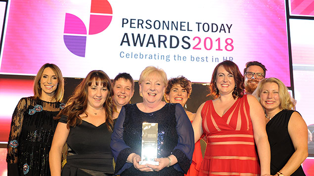 The Johnsons Apparelmaster team collect their Talent Management Award at the Personnel Today Awards 2018