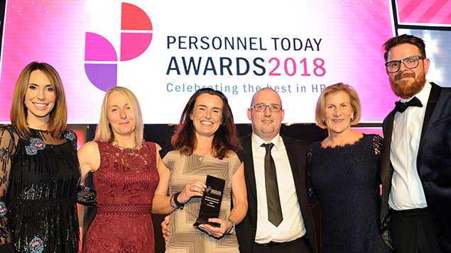 The team from Let's Get Healthy collect their HR Supplier Partnership Award at the Personnel Today Awards 2018