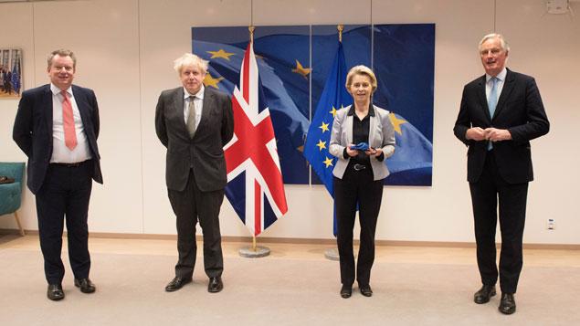 David Frost, Boris Johnson, Ursula von der Leyen and Michel Barnier at the Brexit talks in December.